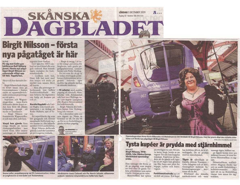 Invigning av pågatåget Birgit Nilsson.