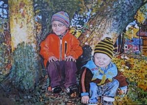 Barnporträtt akryl.
