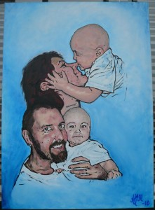Familjeporträtt akryl 50 x 70 cm.